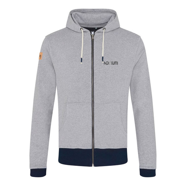 Sweat-shirt capuche zippé brodé Nobelum COTON RECYCLE couleur gris chiné